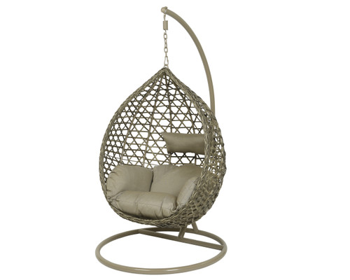 Patio Seating - Hanging Chair Montreal Taupe With Sesame Cushion - 73 inch
