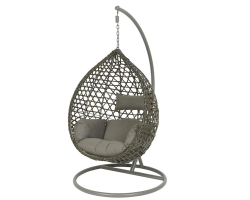 Patio Seating - Hanging Chair Montreal Grey With Grey Cushion - 73 inch