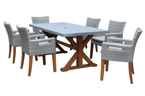 Patio Dining - 7pc Retangular Grey Composite Top Dining Set With Cushions - 74 inch