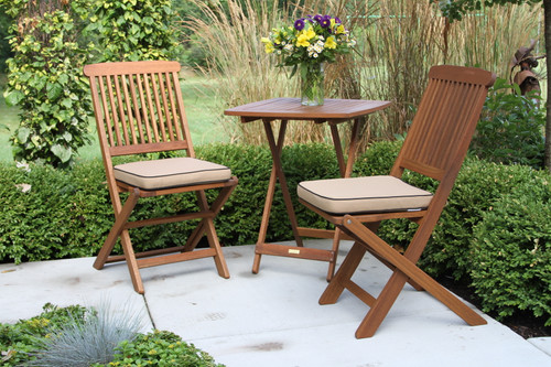 Patio Dining - Square Eucalyptus Bistro Set With Cushions