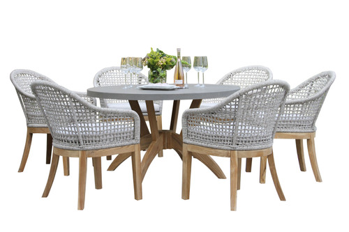 Patio Dining - Teak 7pc Round Composite Top Dining Set With Sunbrella Cushions - 52 inch