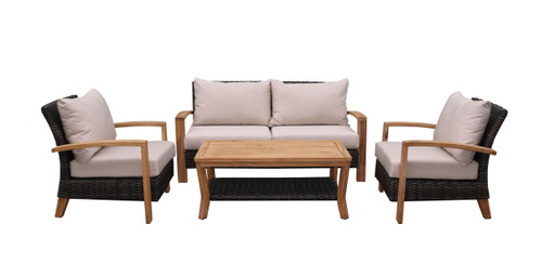 Patio Seating - Teak and Brown Resin Wicker 4pc Seating Group