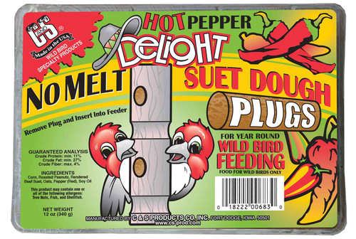 Hot Pepper Delight No Melt Suet Dough Plugs - 12 oz