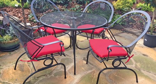 Patio Dining - 5pc Terra Dining Set with Red Sunbrella Cushions