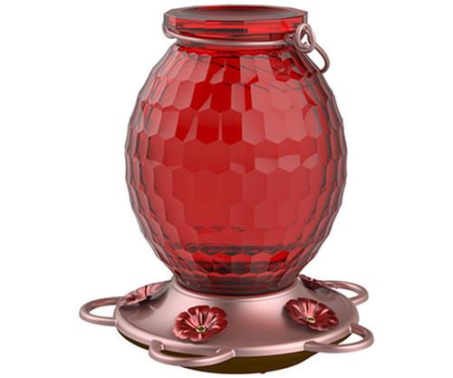 Gem Red Glass Hummingbird Feeder - 22 oz