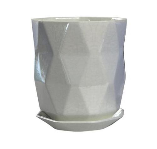 Glazed Ceramic Apex Planter White