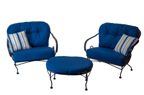 Patio Seating - Brantley 3Pc Seating Group With Blue Sunbrella Cushions