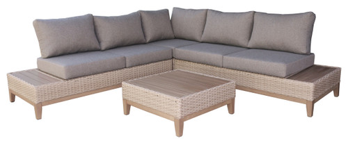 Patio Seating - Eucalyptus and Resin Wicker 4pc Modular Sectional Seating Group