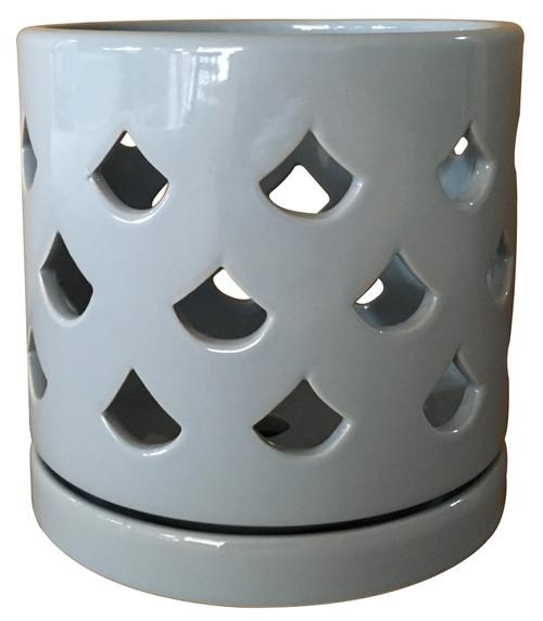 Glazed Ceramic Fan Orchid Pot Glossy Glaze Grey - 8 inch