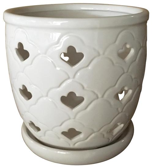 Glazed Ceramic Scallop Orchid Pot White - 6 inch
