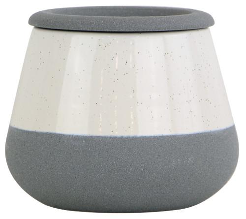 Glazed Ceramic Della Self Watering Planter White/Faux Cement - 6 inch