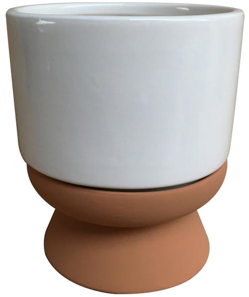 Glazed Ceramic Lex White/Faux Terracotta - 6 inch
