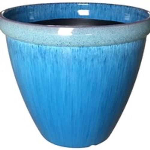 Glazed Ceramic Egg Planter Aqua - 13 inch