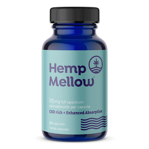 Hemp Mellow 25mg Full Spectrum CBD Capsules - 30ct Bottle infused with Naturia Plus for Enhanced Absorption