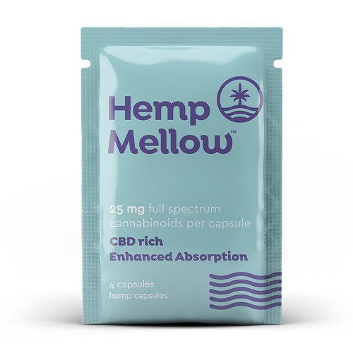 Hemp Mellow 25mg Full Spectrum CBD Capsules - 4ct Sample Packet Infused with Naturia Plus for Enhanced Absorption