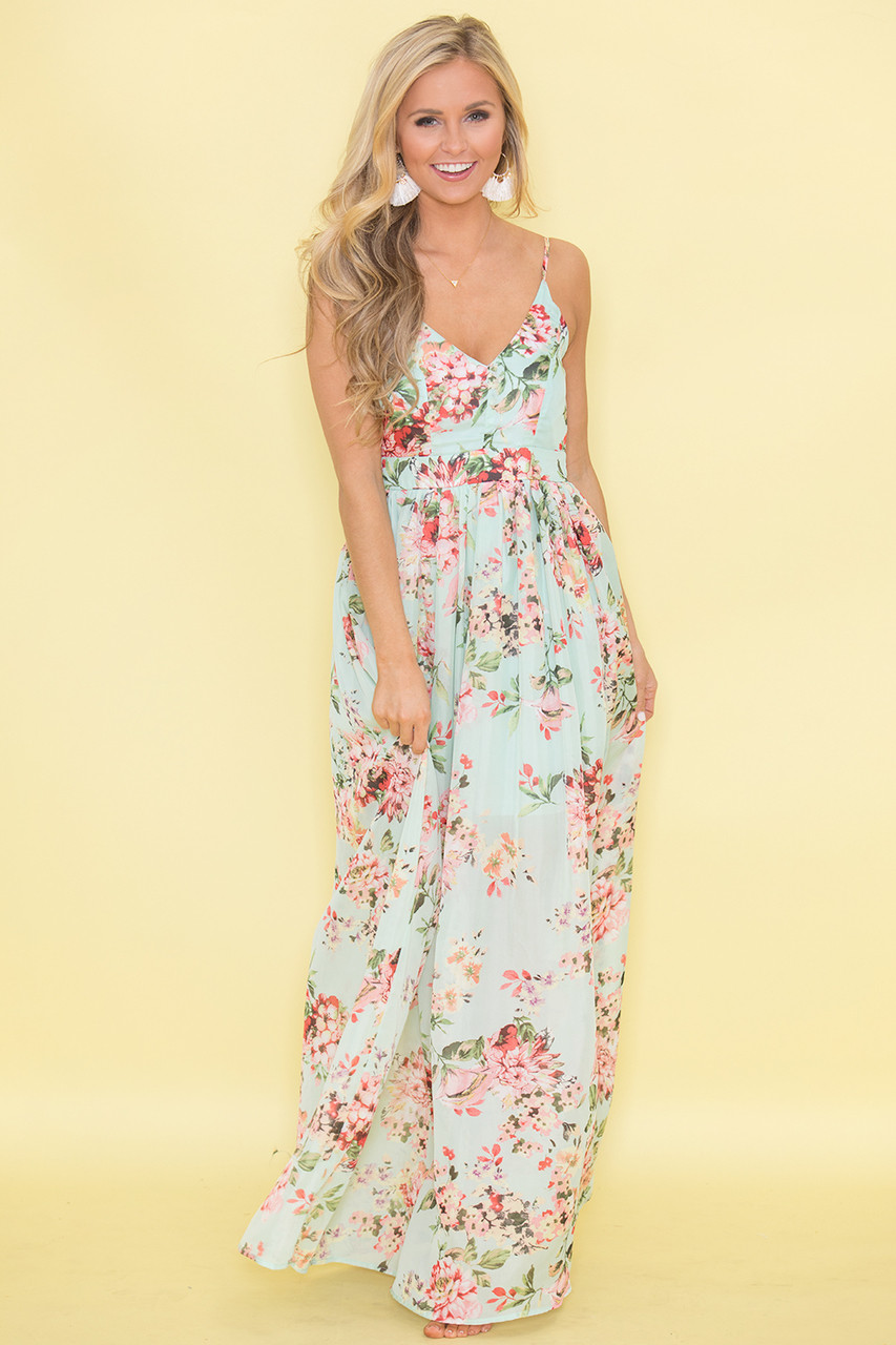 9355da71bc Heaven On Earth Maxi Dress Mint - The Pink Lily