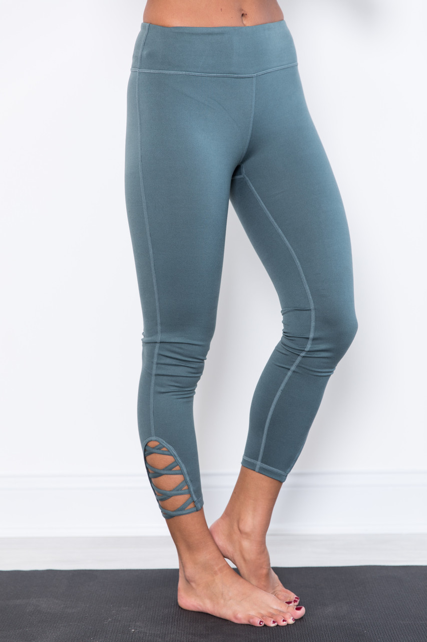 9ed29ded30c2d Breathe In The Love Dusty Blue Athletic Leggings - The Pink Lily