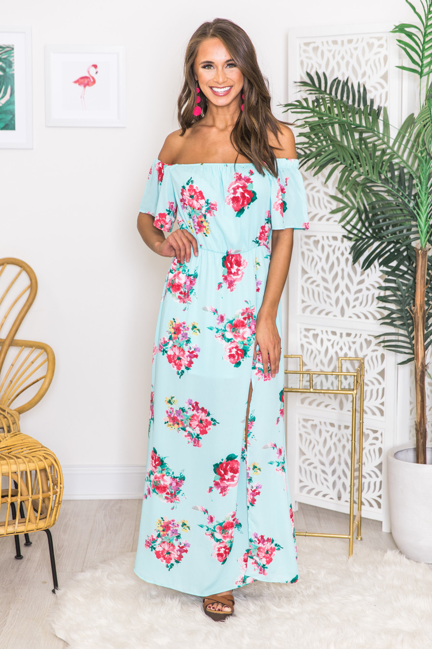 735ea4fd6d9bb Dancing On The Beach Floral Maxi Dress CLEARANCE - The Pink Lily