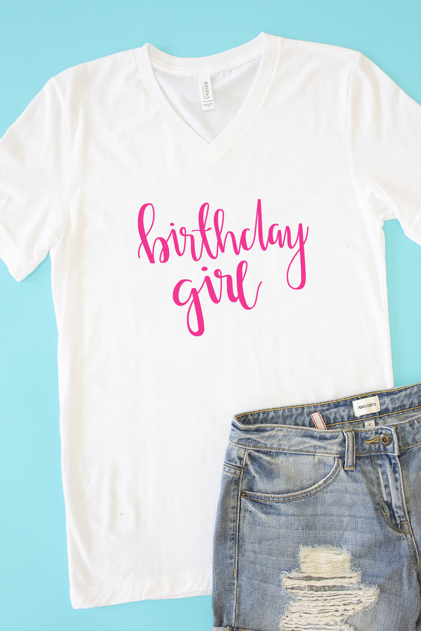 50d0da940 Birthday Girl V-Neck Graphic Tee - The Pink Lily