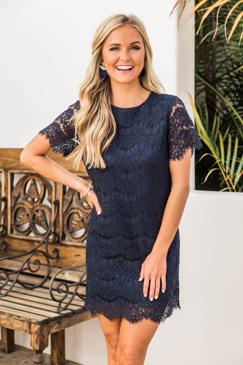 9da5f33189c36c Give Me A Lifetime Navy Lace Dress CLEARANCE - The Pink Lily