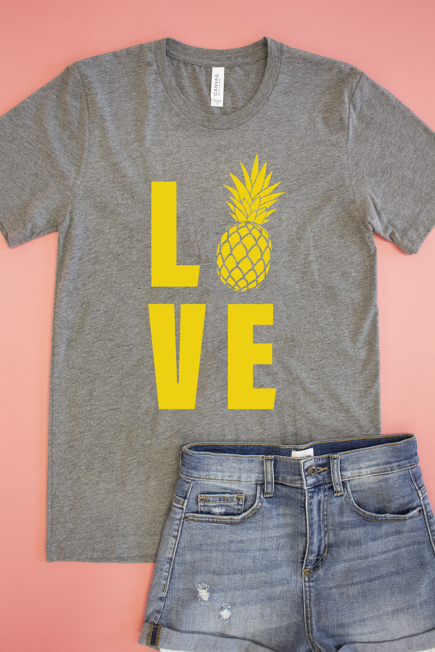 079b49d8eae Pineapple Love Graphic Tee Grey - The Pink Lily