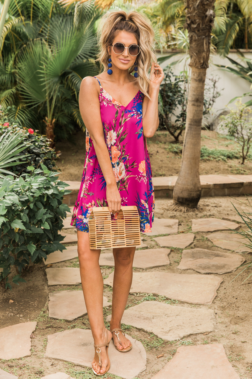 344c1d6162df91 Cancun Is Calling Magenta Floral Dress CLEARANCE - The Pink Lily