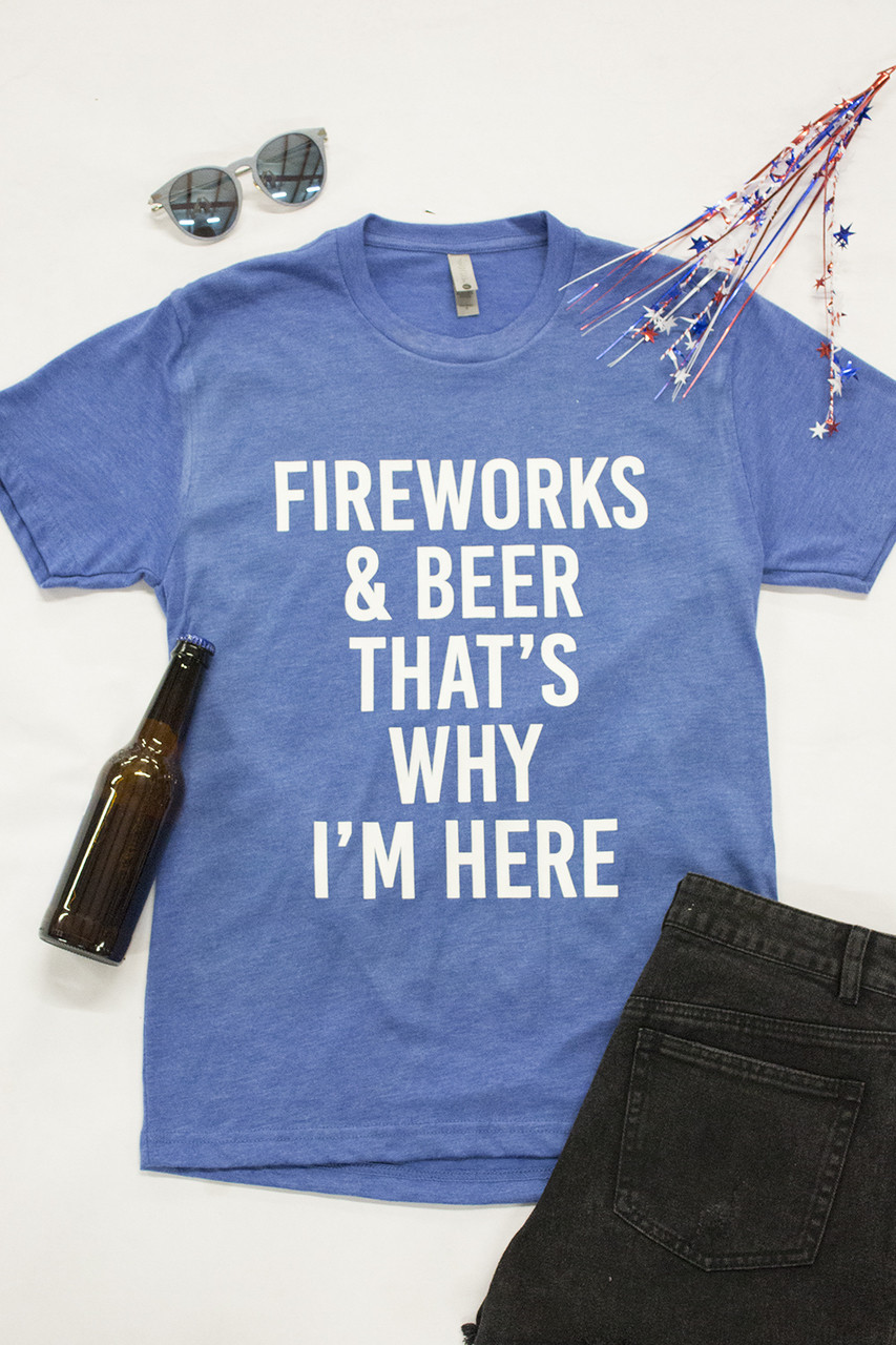 20486ac3c91 Fireworks And Beer Graphic Tee - The Pink Lily