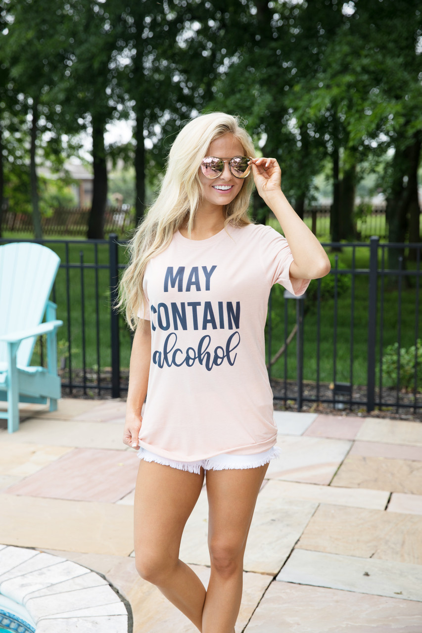 77ecef4e701 May Contain Alcohol Script Graphic Tee - The Pink Lily