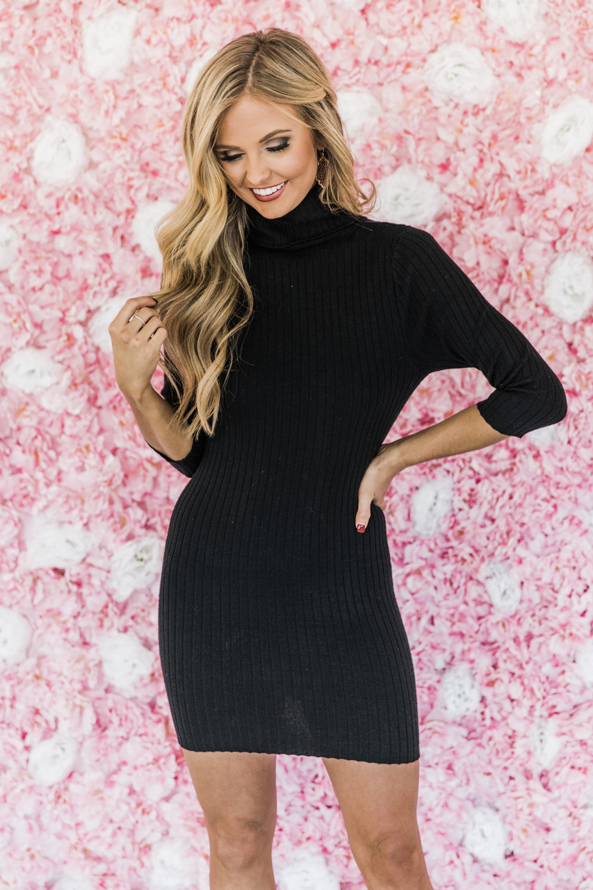 dd990d74397 Never Going Back Black Sweater Dress CLEARANCE - The Pink Lily
