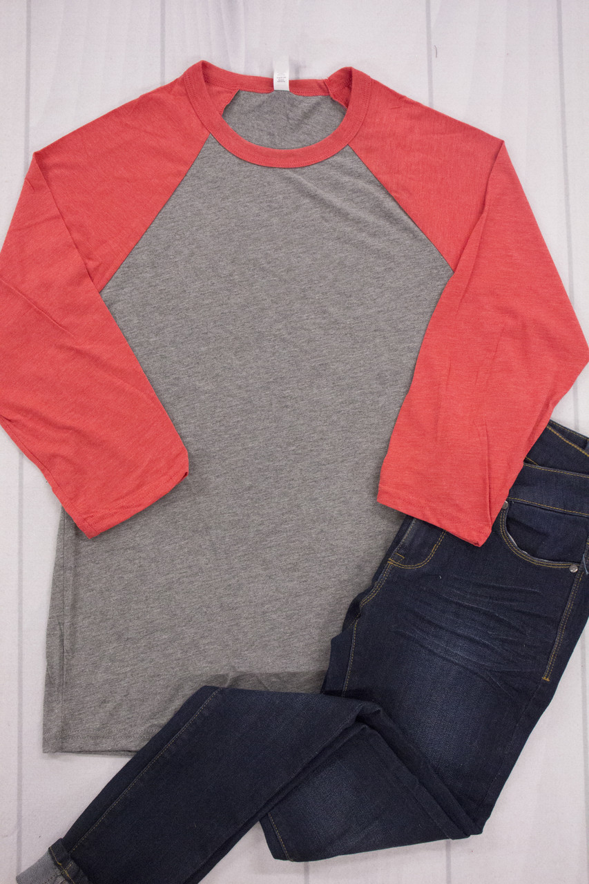 bf3d203bf2 Bella + Canvas Red/Grey Curvy Raglan T-Shirt CLEARANCE - The Pink Lily