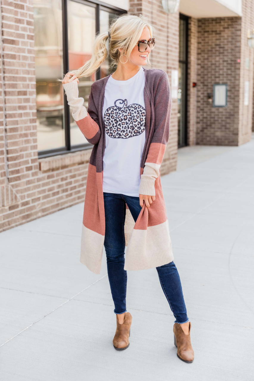 1X//2X New Black Mocha Striped Long Cardigan Sweater Duster Tee Shirt Knit