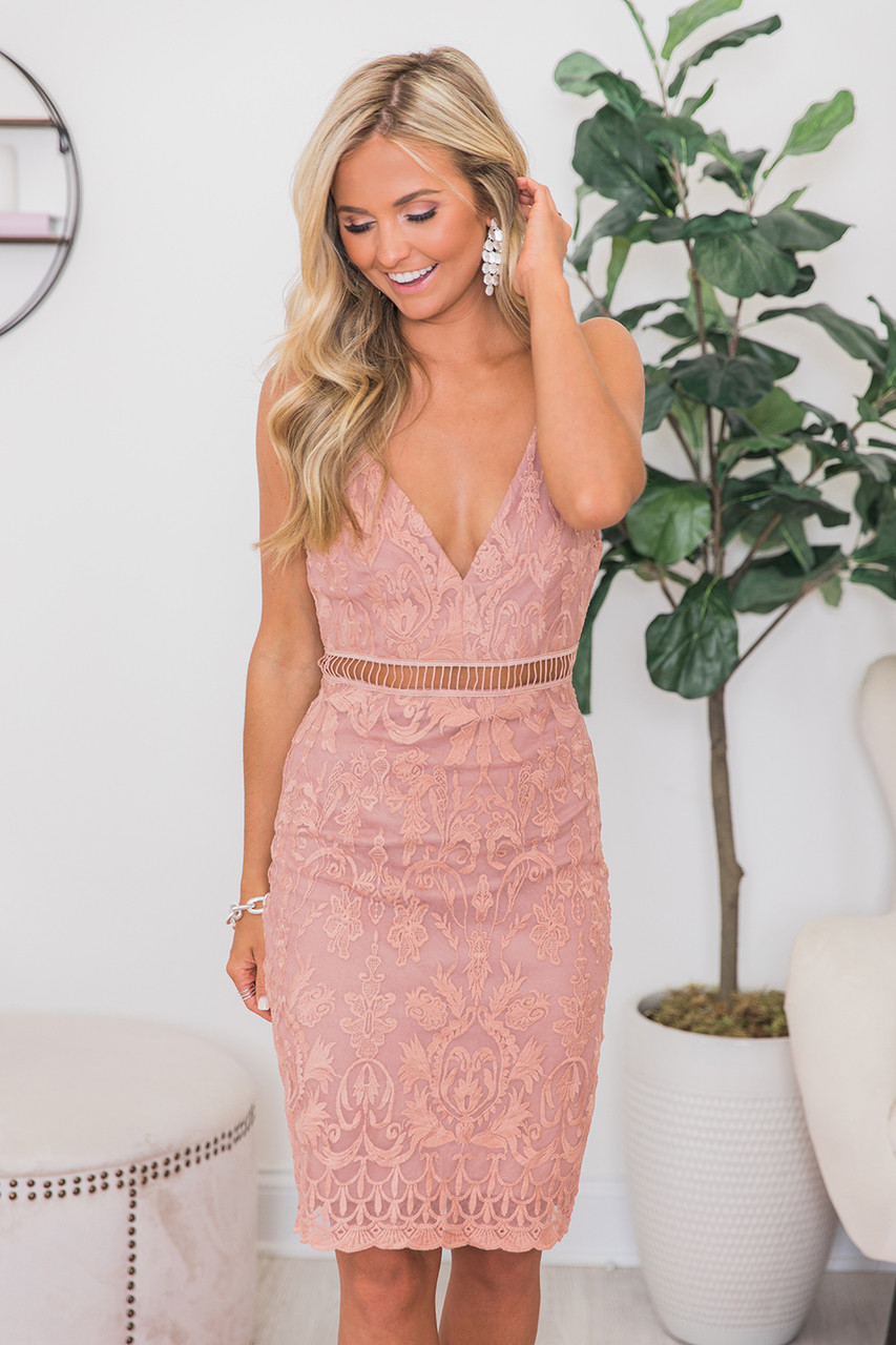 cc0a12cef6bde4 All The Adoration Dusty Rose Lace Dress CLEARANCE - The Pink Lily