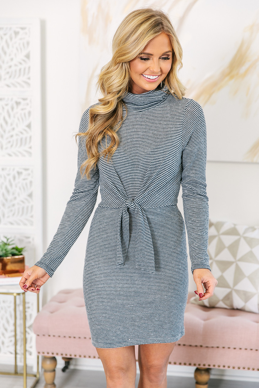 972f0b5dda3 Always Have Hope Navy Striped Sweater Dress CLEARANCE - The Pink Lily