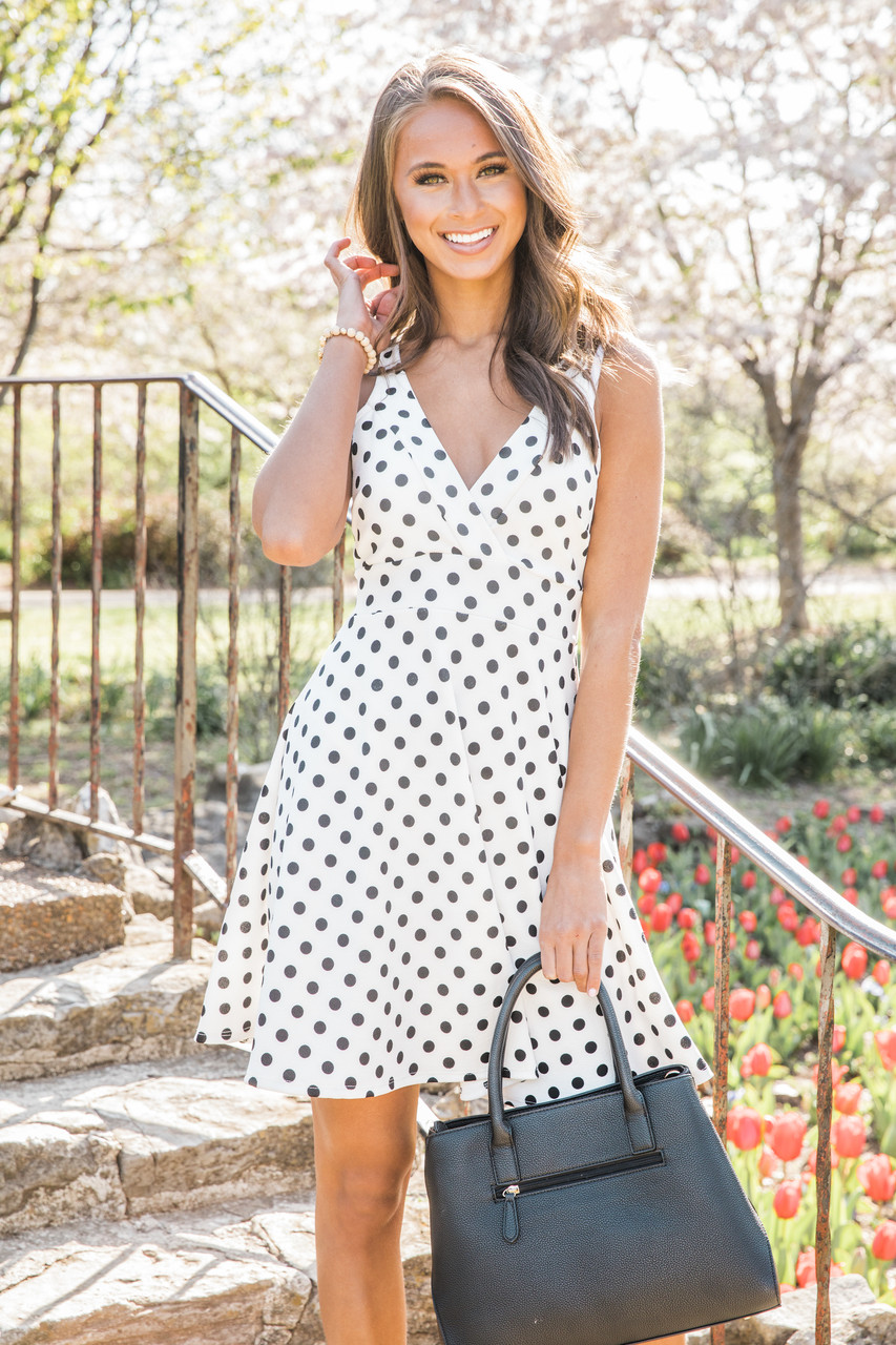 1a6fd53e6c815b Back To Yesterday White Polka Dot Dress CLEARANCE - The Pink Lily