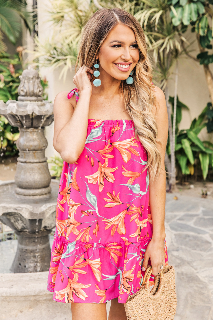 14cac335e8 Dreaming On The Lanai Floral Dress Hot Pink - The Pink Lily
