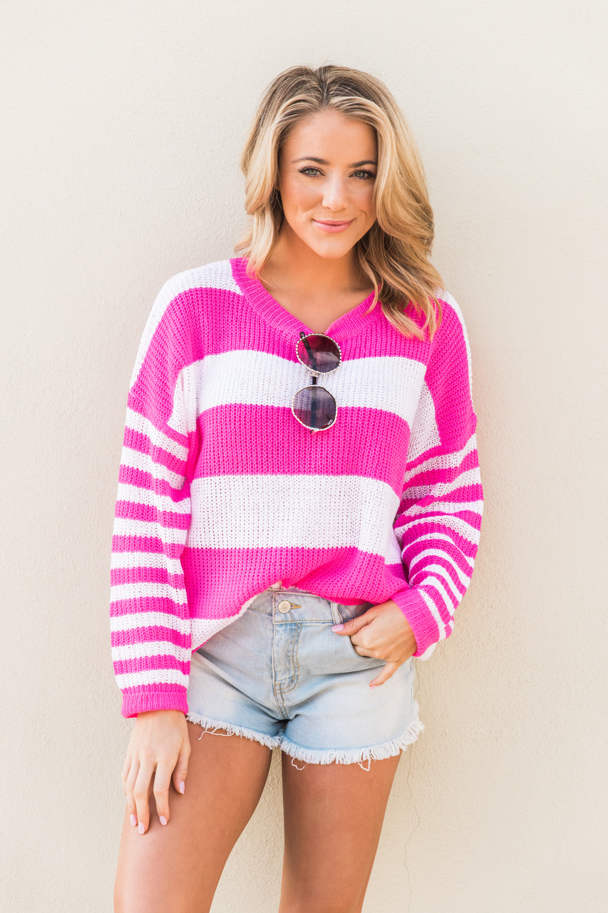 9c84554d661b2 Let Me Fall In Love Hot Pink Striped Sweater - The Pink Lily