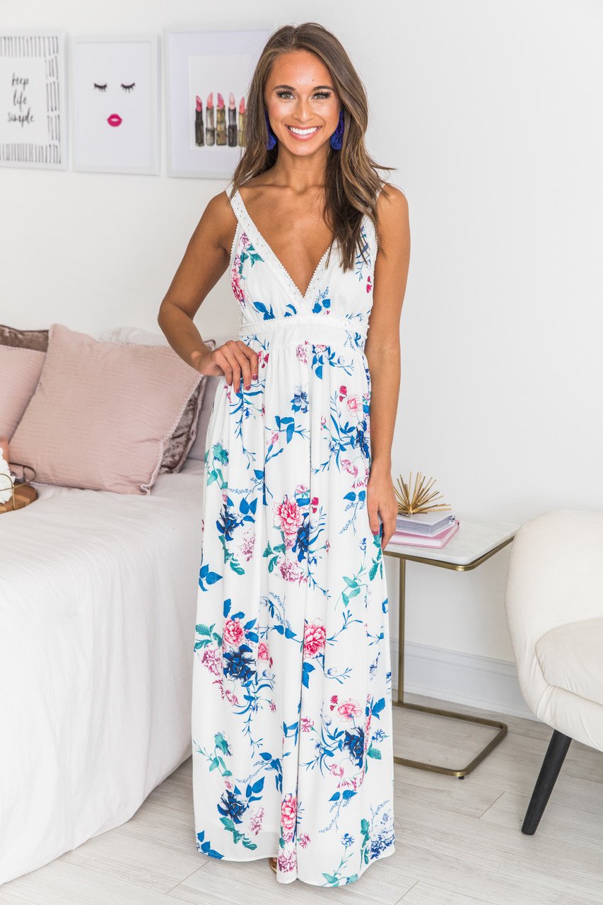 7201d4d466 Cherished Dreams Floral Maxi Dress White - The Pink Lily