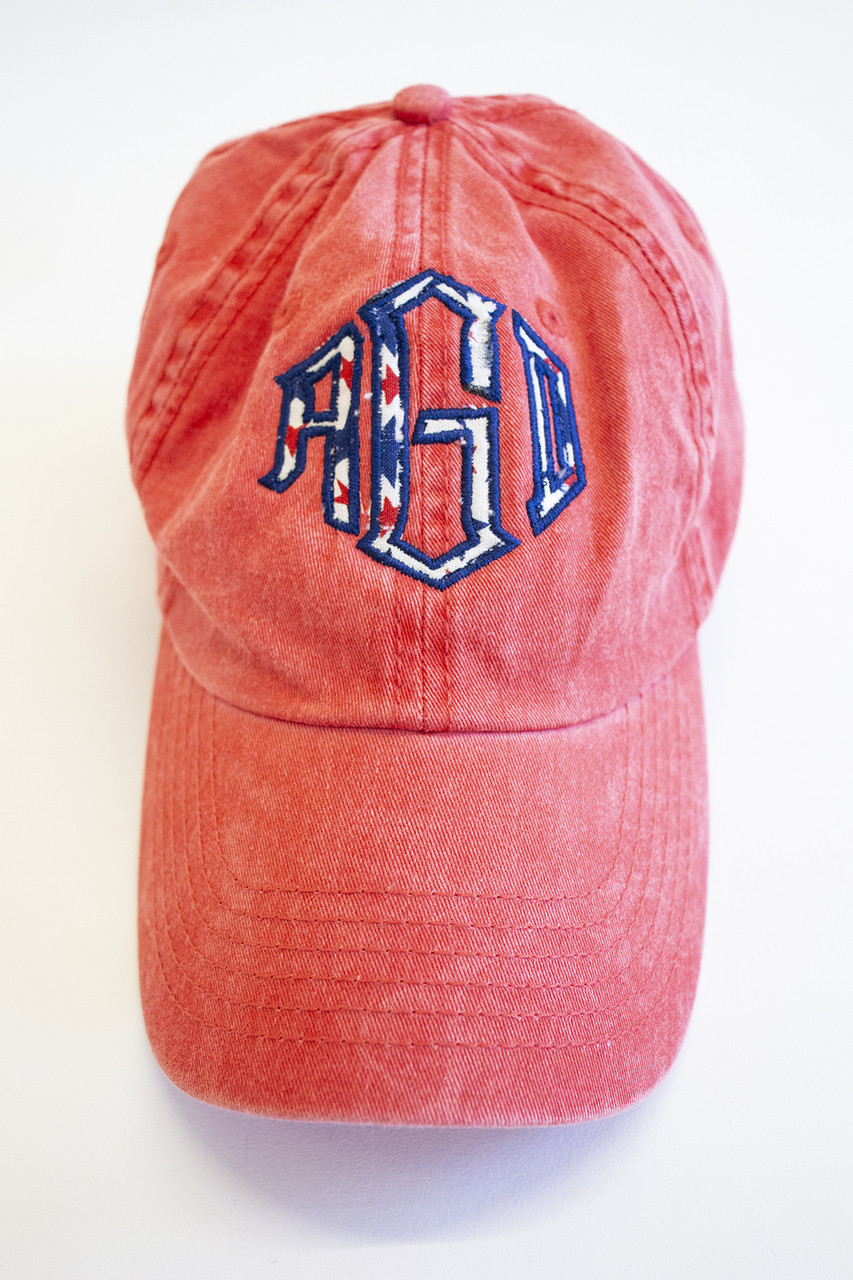 07b6d3c2c228a Patriotic Stars Monogram Applique Baseball Cap - The Pink Lily