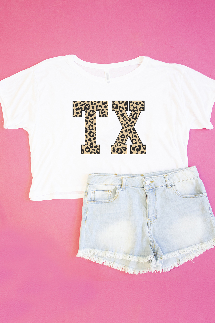 b00581b9d Leopard Printed State Letters Cropped Graphic Tee - The Pink Lily