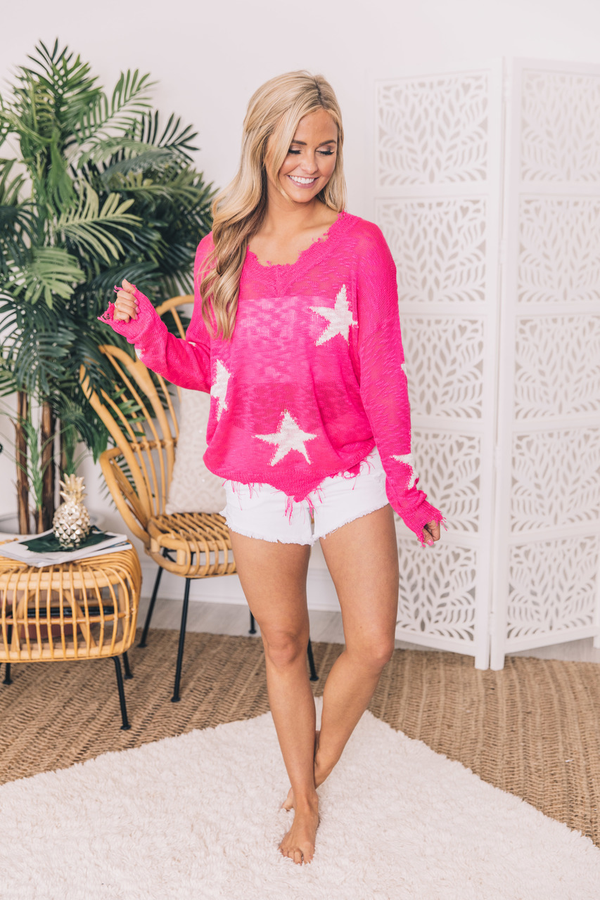 Rewrite The Stars Hot Pink Star Printed Blouse - The Pink Lily