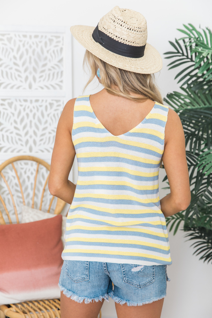 72214df19999c7 Tell It Like It Is Blue/Yellow Striped Sweater Tank - The Pink Lily