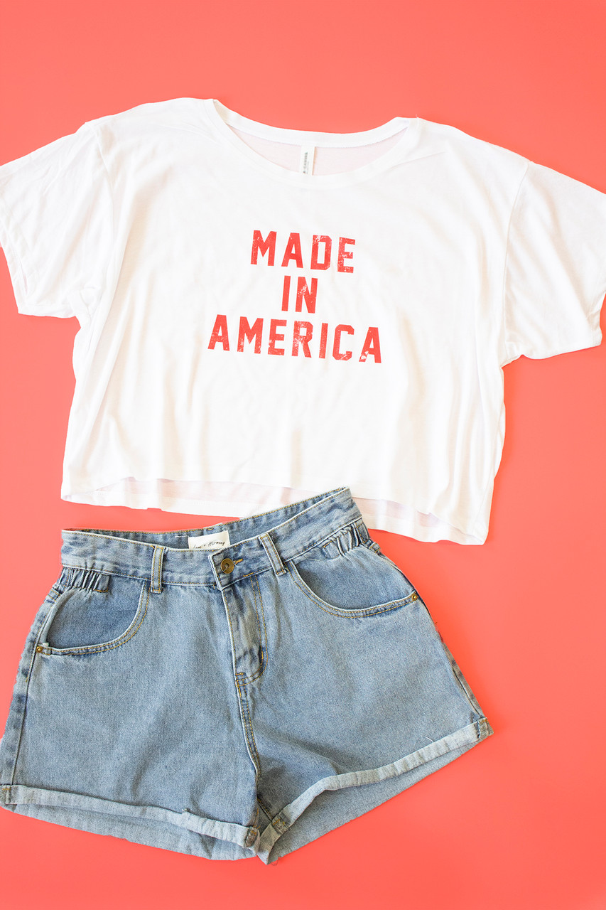 4b945e1d Made In America Distressed Cropped Graphic Tee - The Pink Lily