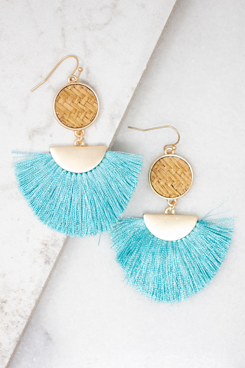 3eab4ecf0 Beautiful Bliss Turquoise Tassel Earrings - The Pink Lily