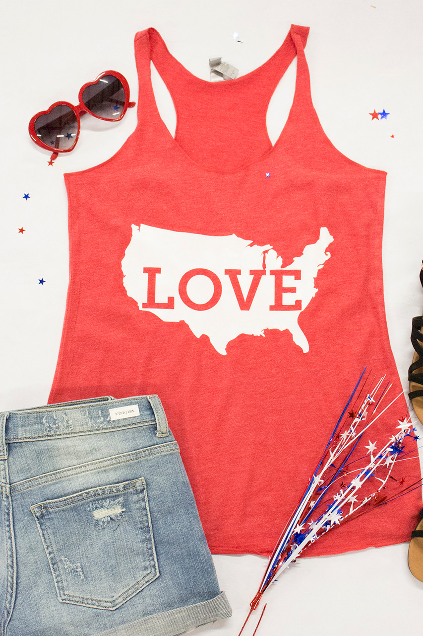 58f9d8f6 I Love The USA Red Graphic Tank - The Pink Lily