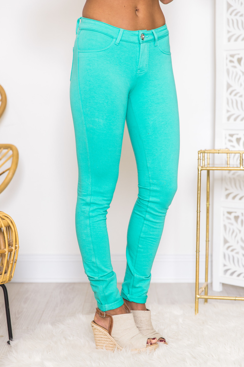 17f0a3169bb19 Mint Skinny Jeggings CLEARANCE - The Pink Lily