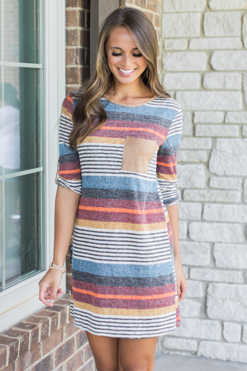Glowing Fondness Striped Dress Clearance The Pink Lily