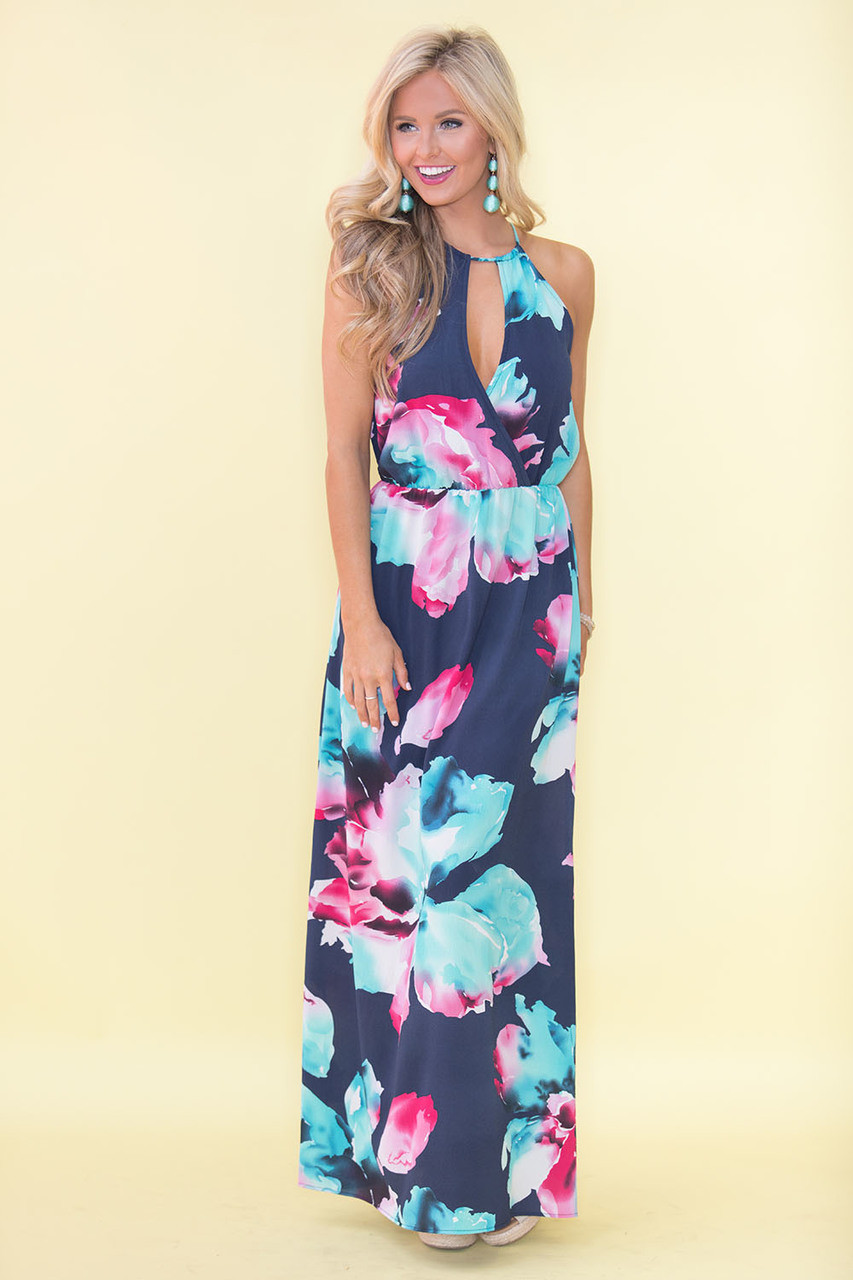9edac6b61a2 Delicate as a flower maxi dress navy the pink lily jpg 853x1280 Pink and navy  dress