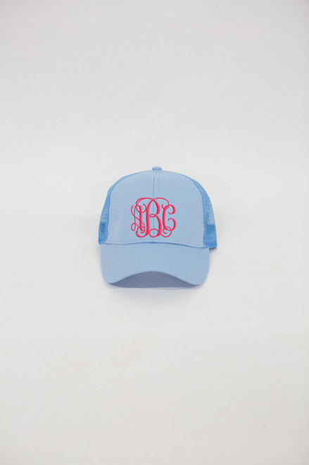 b7759166ac4 Monogrammed Mesh Ponytail Caps - The Pink Lily
