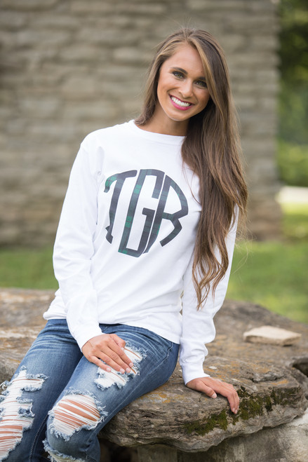 8a2682a71608 Comfort Colors White Personalized Long Sleeve Tee - The Pink Lily