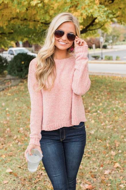 Like A Love Song Pink Sweater CLEARANCE